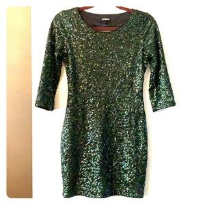 Emerald green sequins cocktail dress